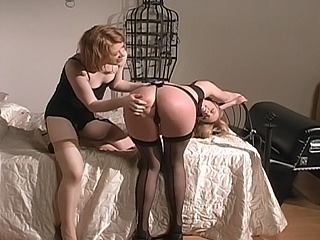 Madison Young spanks Anna Mills in Spanking Desires