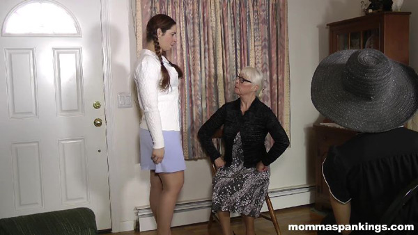 Adriana Evans is in trouble with Momma Dana Specht in this 1950s spanking scene