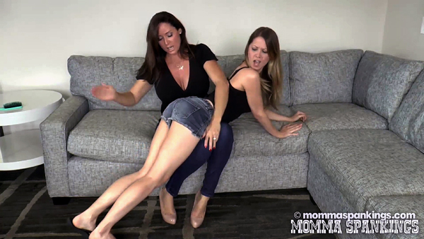 Christina Carter spanks Chrissy Marie over her tight denim shorts in Stepmother Takes Charge