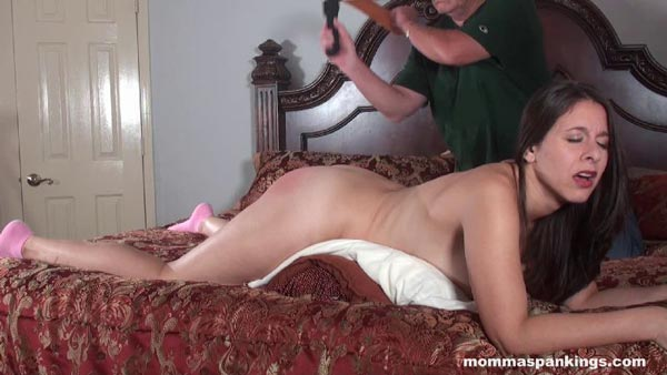 Paul Rogers gives naughty Sarah Gregory a nude strapping