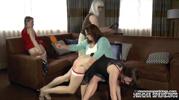 Ava Nicole reacts to momma's hairbrush spanking