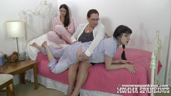 Elle Bea goes over the knee and gets spanked in her pajamas