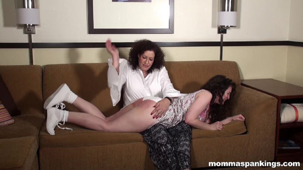 Angel Lee gets spanked hard OTK on the couch by Miss Chris