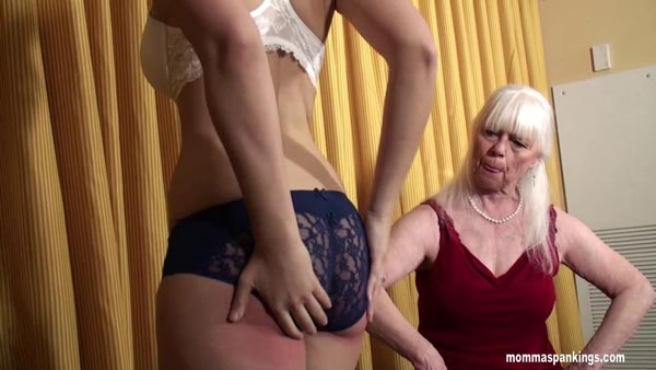Momma inspects Sarah's red bottom through her lacy blue panties