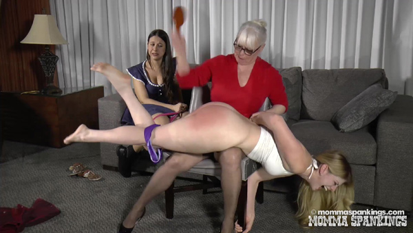Harley Havik gets spanked to tears by momma's hairbrush OTK