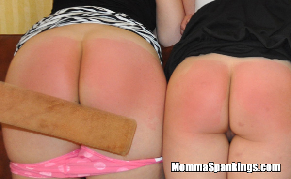 By the end of the punishment both ladies have sore, red bare bottoms