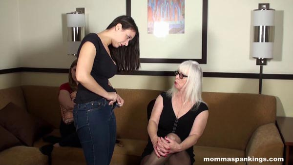 Sarah Gregory takes off her jeans for her OTK spanking