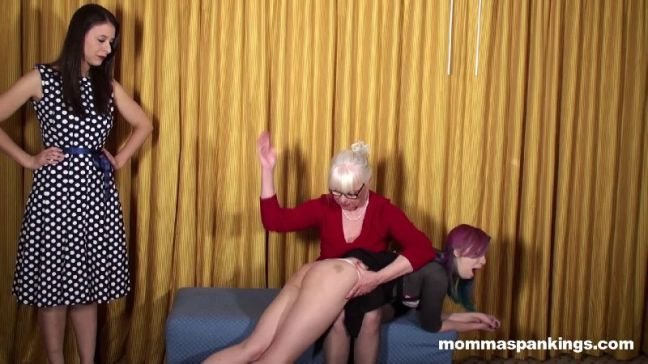 Dana Specht spanks Mandie Rae OTK while Sarah Gregory watches in this multi generational spanking