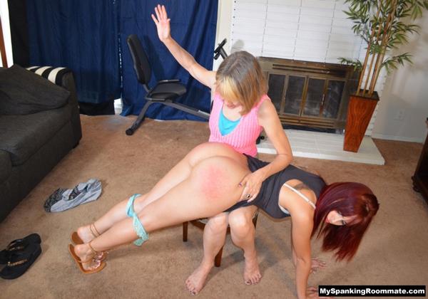 Kira's big booty gets spanked bare