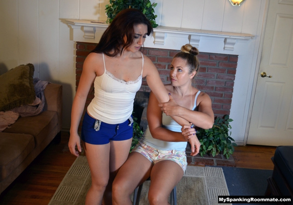 Mandy Muse goes over Madison Martin's lap at My Spanking Roommate