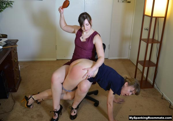 Lawyer Pandora gives Clare Fonda a hard retribution spanking with the hairbrush