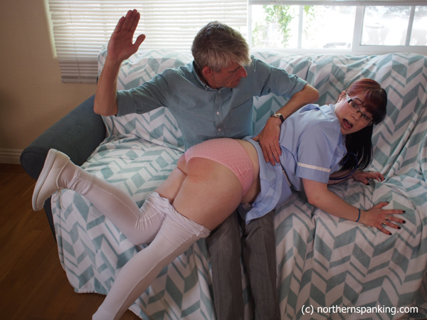 Nurse, Ami Mercury, gets an OTK spanking from Paul Kennedy