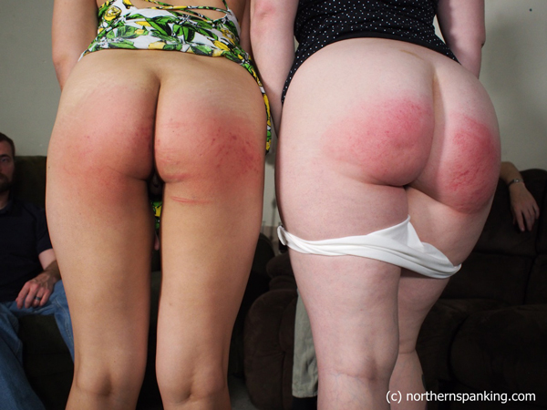 Koko Kitten and Ginger S show off their spanked bottoms together
