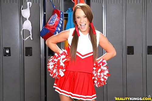 Cute 18-year-old cheerleader Haley Sweet in pigtails