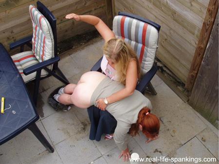 Amy's OTK Punishment in the Yard