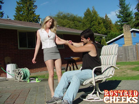 Over the knee handspanking outdoors