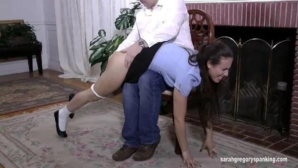 John spanks naughty Casey's bare bottom over his knee