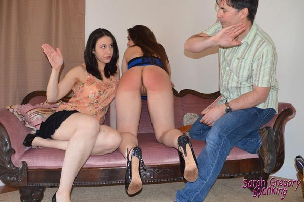 Sarah and John finish off by spanking Adriana together for her unwelcome advances