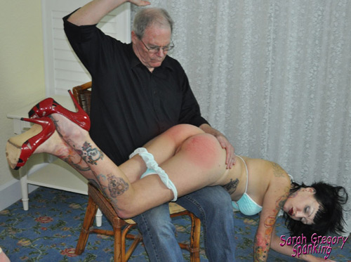 Vivian gets her bikini bottoms pulled down and her bare bottom gets spanked red