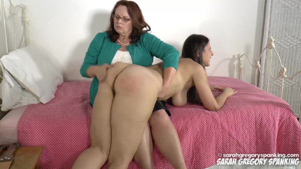 Miss Elizabeth gives Sarah Gregory a nude spanking