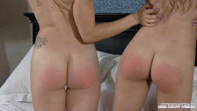 Skye Blue and Madison Swan show off their bare spanked bottoms