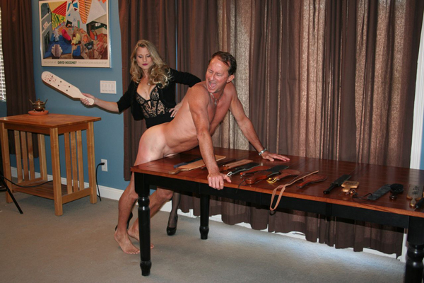 Bart gets paddled naked over the table by sexy Mistress Aleana