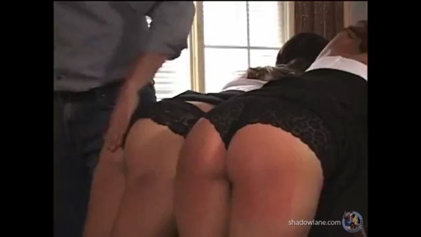 The ladies are spanked together in their matching black panties