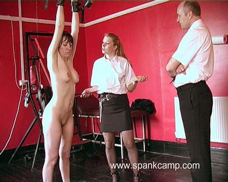 Strict Lady spanker tied up and caned
