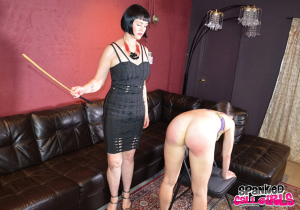 Arielle Lane caned by Snow Mercy on her bare bottom
