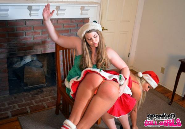 Christy Cutie spanks Savana Styles in Elf Spankings