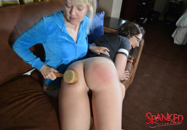 Clare Fonda spanks Adriana Evans at Spanked Sweeties