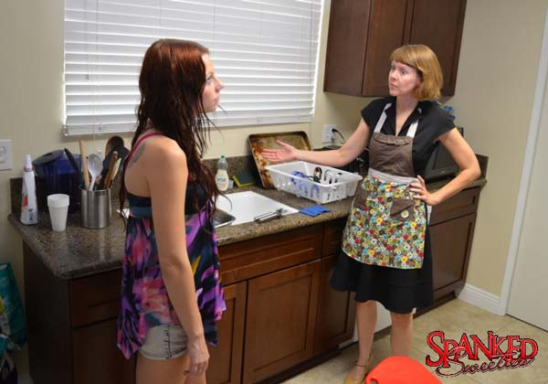 Chloe Love is accosted by mom, Clare Fonda, in the kitchen