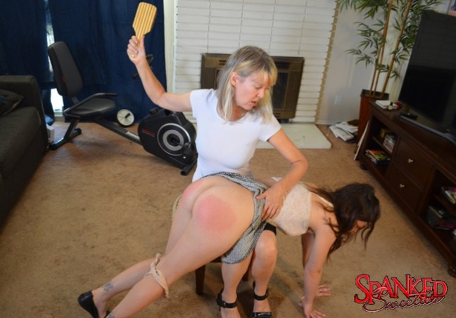 Juliette March spanked with the Hairbrush on her Bare Bottom