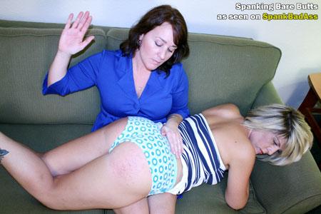Bryanna's Stepmom spanks her naughty friend, Summer, over her knee