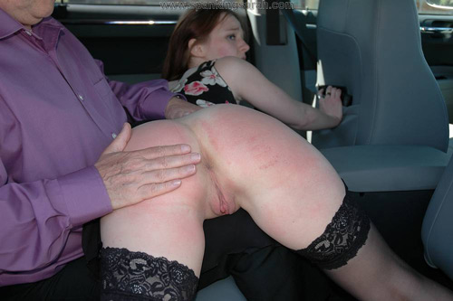Kami Robertson gets spanked and strapped in the backseat of the taxi for trying to avoid paying the driver