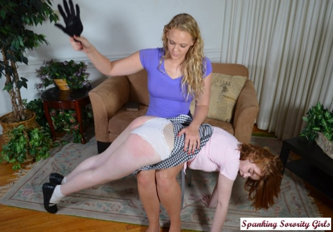 Cherry spanked by Mia Vallis OTK with a leather paddle over her white panties