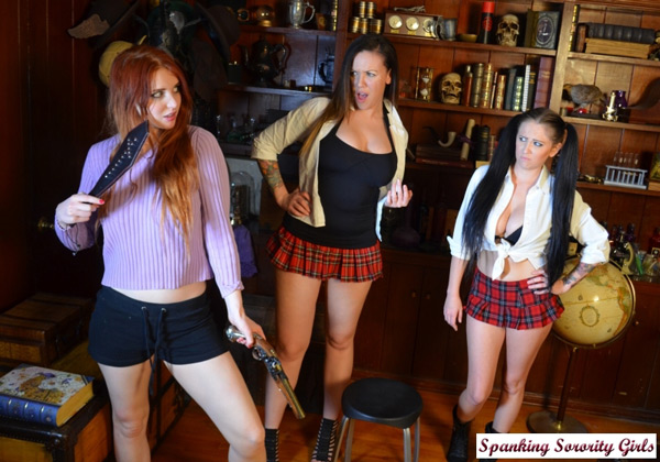 Veronica Ricci decides to spank two new rebel girls to the sorority
