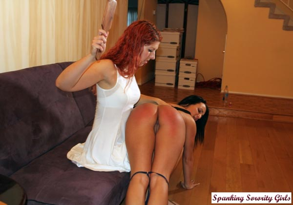 Maddy gives Jenna her hardest ever OTK spanking and paddling