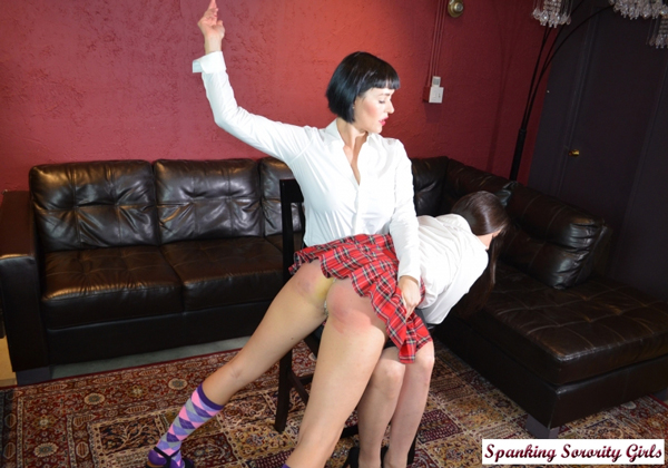 Arielle Lane gets spanked in school uniform OTK