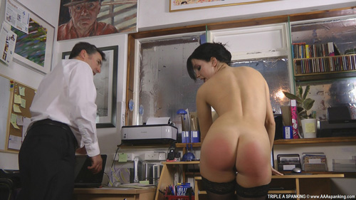 Sexy English secretary, Jasmine Lau, shows off and wiggles her well-spanked and rosy bottom