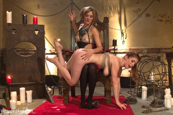 Mona Wales spanks Penny Pax over the knee in Le Dragon Rouge
