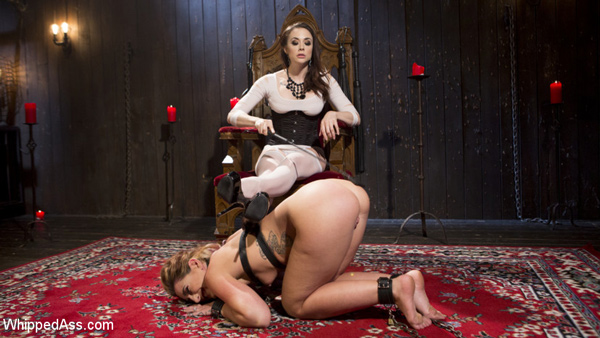 Mistress Chanel Preston dominates and spanks submissive Savannah Fox