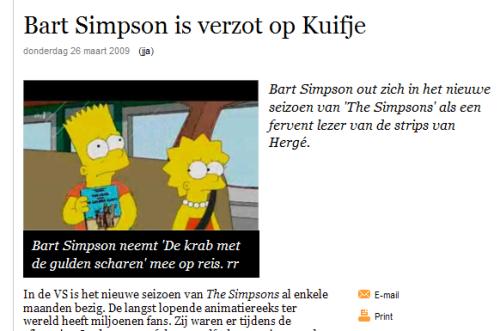 Bart Simpson reads Tintin