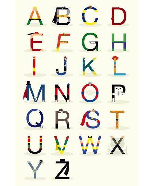 Minimal Superhero Alphabet by Fabian Gonzalez