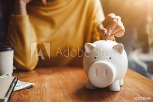 hand put money coin into piggy for saving money wealth