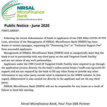 Nirsal Microfinance Bank (NMFB) Loan by CBN for COVID-19