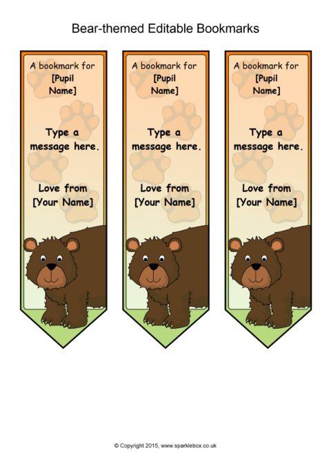 Bear Themed Editable Bookmark Templates SB11069 SparkleBox