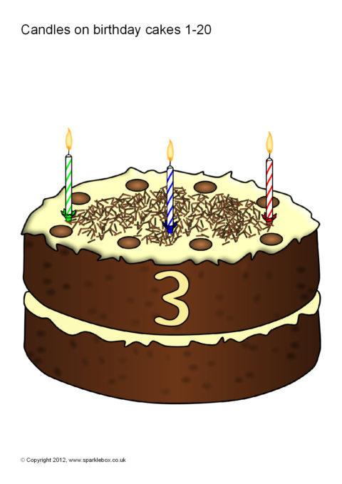 Numbers 0 20 On Birthday Cakes Sb74 Sparklebox