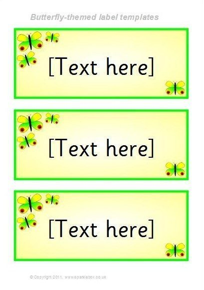 Butterfly Themed Classroom Label Templates