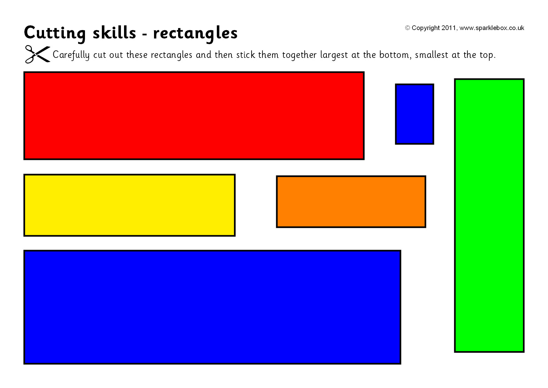 Cutting Skills Worksheets Shapes And Size Ordering